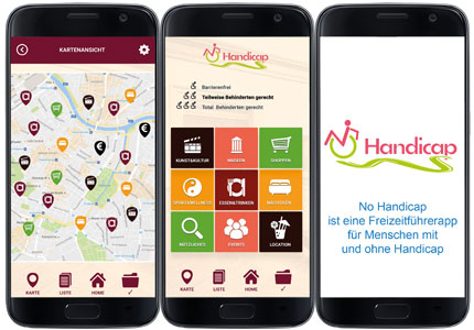 Referenz:No handicap, App, Internetseite, SEO, Marketing, Flyer und Beratung